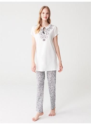 Mod Collection Kadın Pijama Takımı Ekru